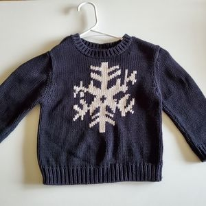 Lands' End Navy White Snowflake Sweater